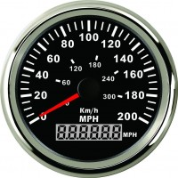 GPS Speedometer 85-mm with working compass works in 0-200 MPH, KPH, or Knots Black Faced